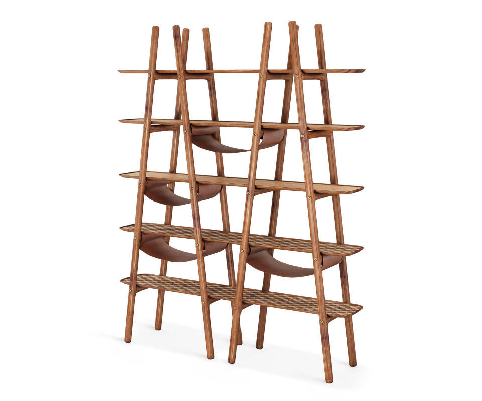 Blake Ladder Shelf with leather and brushed brass details