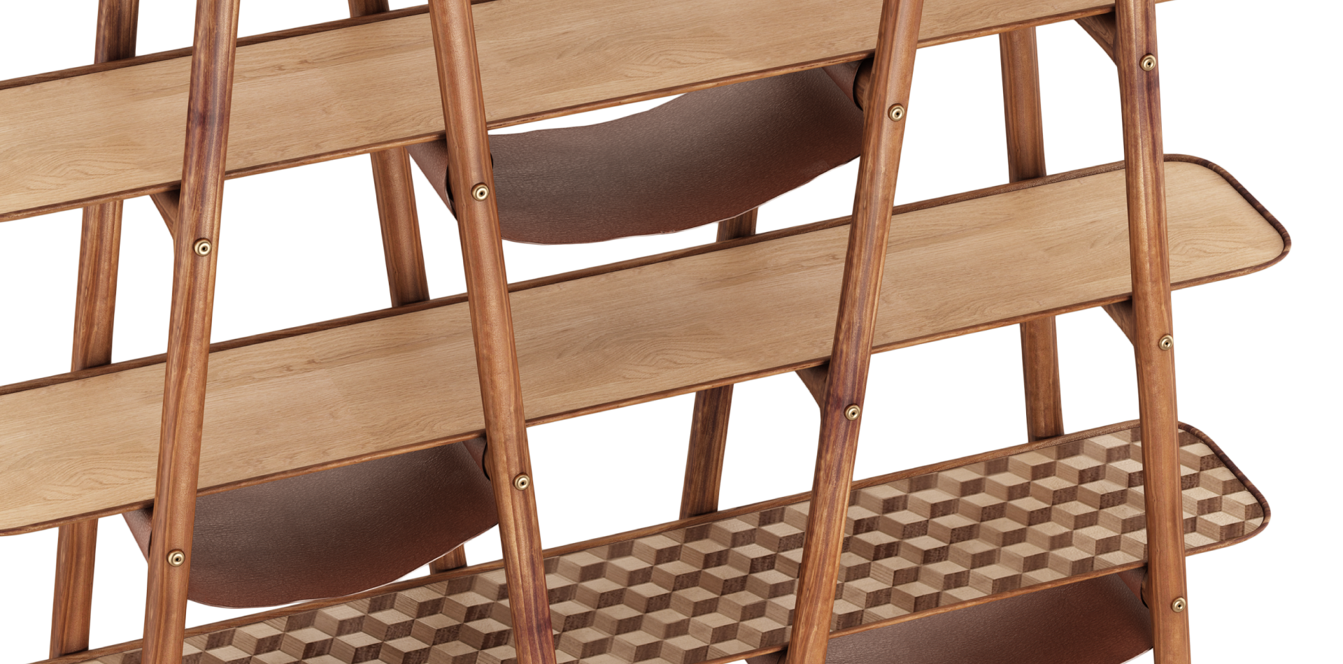 Blake Walnut Bookshelf with leather and brushed brass details