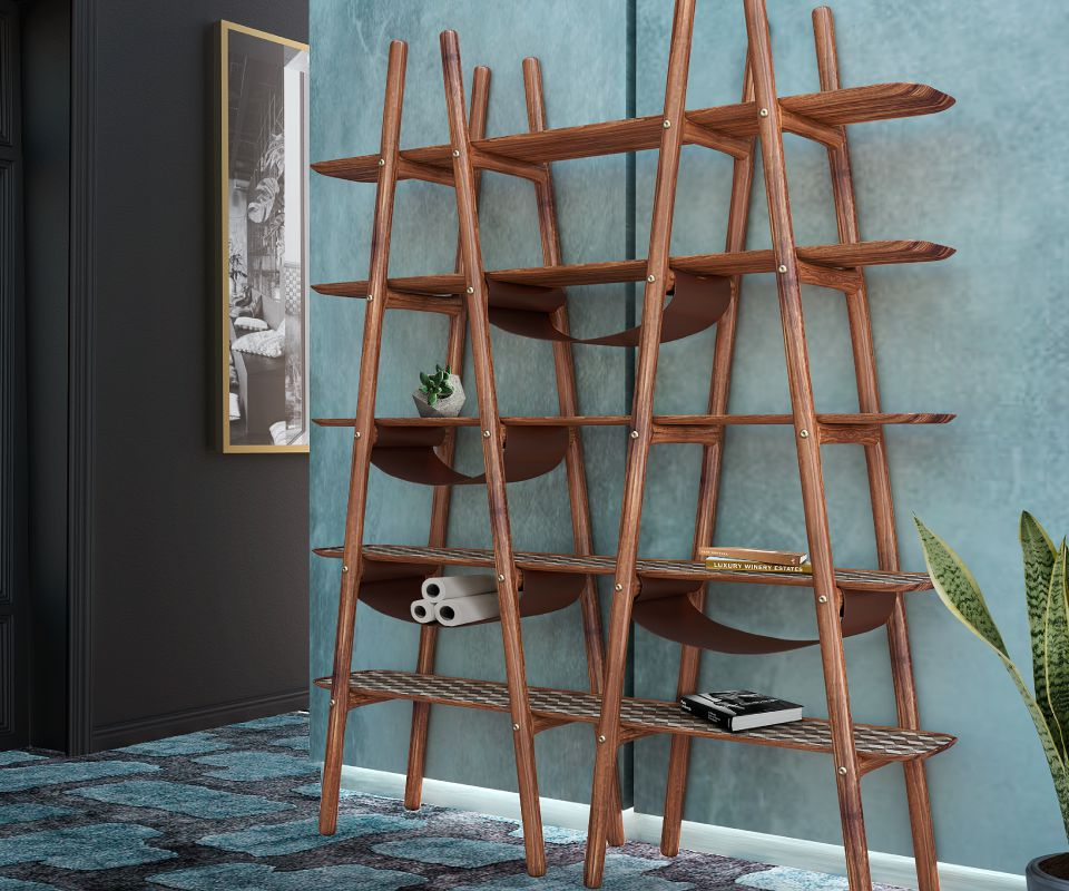 Blake Ladder Shelf Ambience with leather and brushed brass details