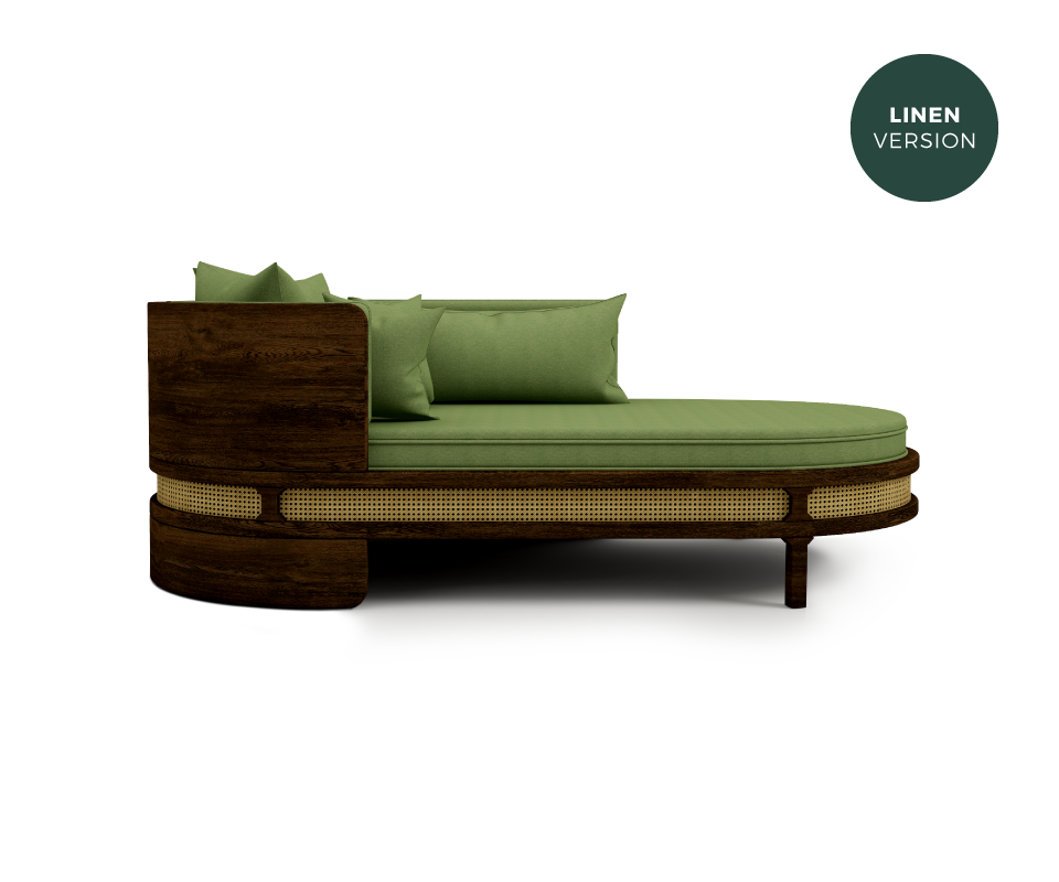 Brooks Chaise Longue Green Linen