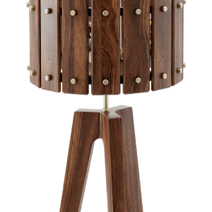 Charles Floor Lamp in walnut wood and brushed brass