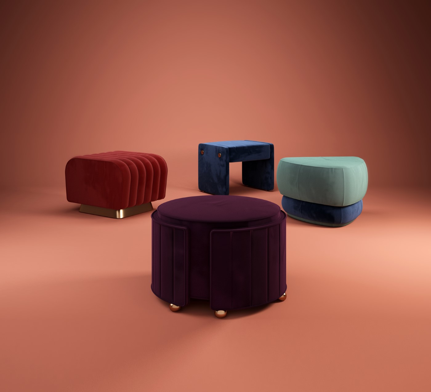 Colorful Stools- Ottoman Collection Square