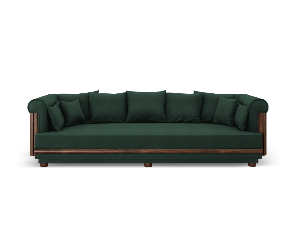 Conway Sofa in Green Linen