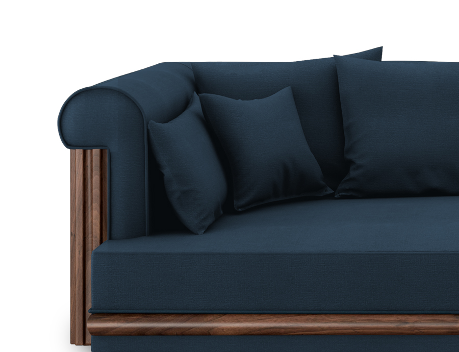 Conway Sofa in Blue Linen, front view