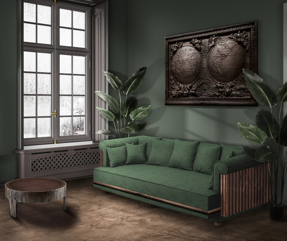 Conway Sofa in green forest linen