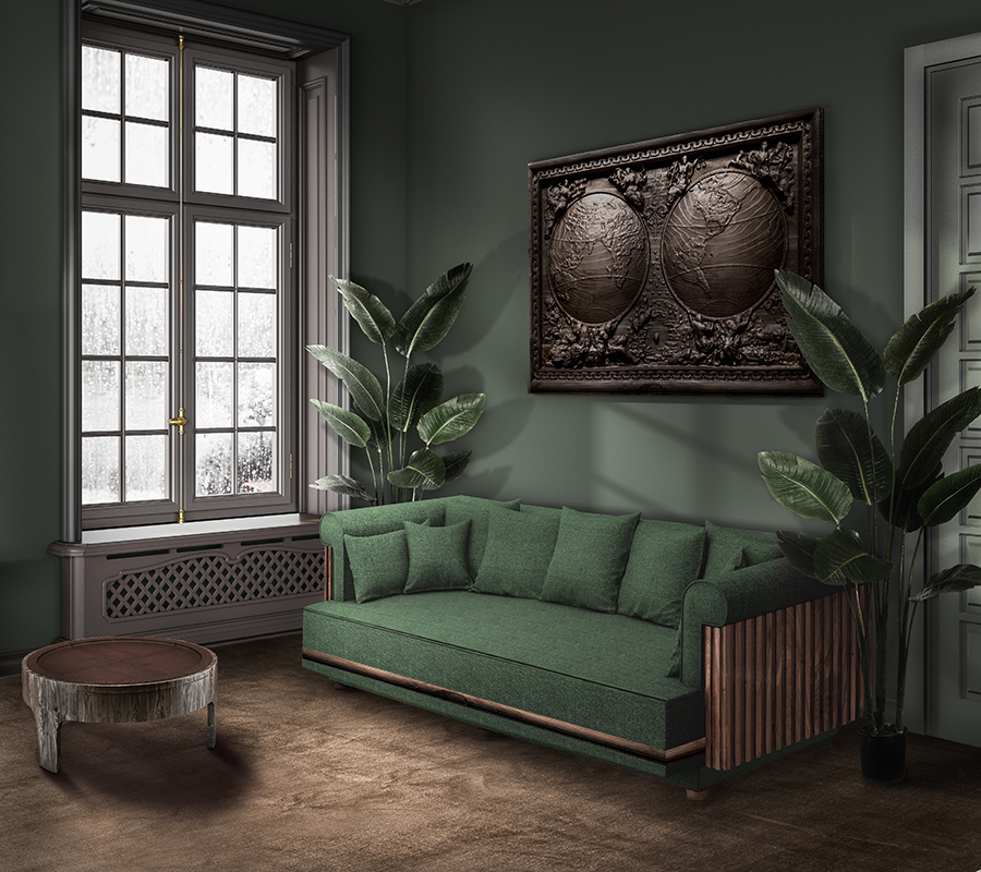 Conway Sofa in green Linen in ambience