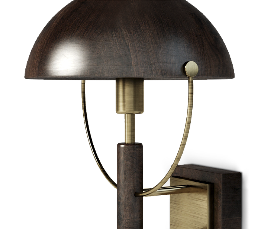 Faraday Wall Lamp in dark and smoked walnut wood