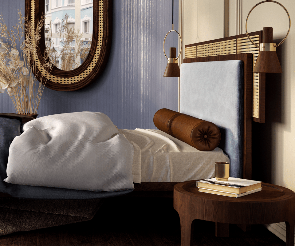 Forbes Bed, Churchill nightstand, Hudson Mirror and Humphry Pendant Lamp