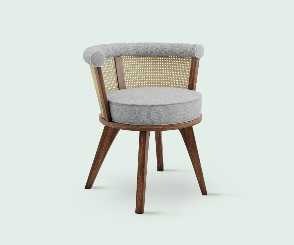 George Chair is made of solid walnut wood enriched with rattan