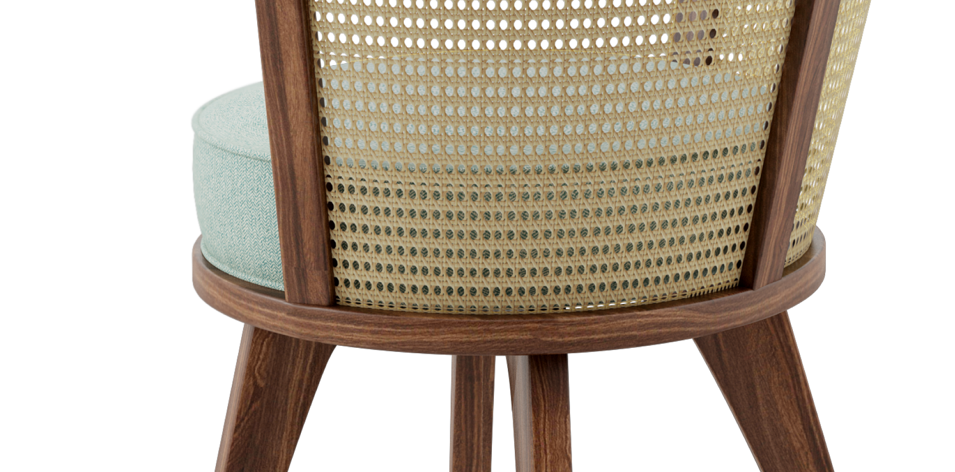 George Dining Chair is made of solid walnut wood enriched with rattan