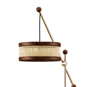 Hamilton Floor Lamp with rattan