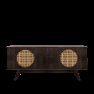 Harrison Walnut sideboard with Rattan details