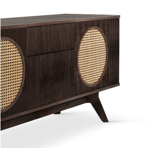 Harrison Walnut sideboard with Rattan details