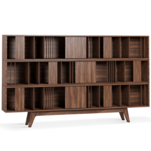 Living room and dining room integrated-Woodworth bookcase