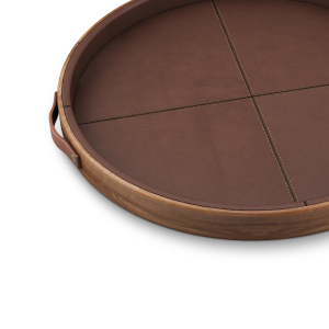 Maxwell Walnut tray with leather details