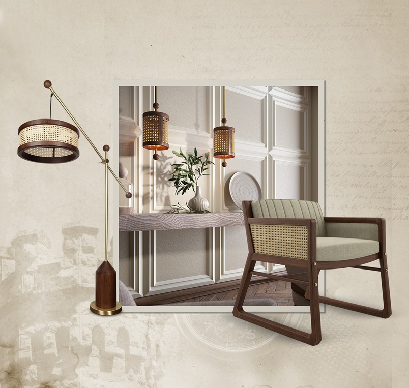 Rattan Furniture - William Armchair, rattan pendant lamps and hamilton floor lamp