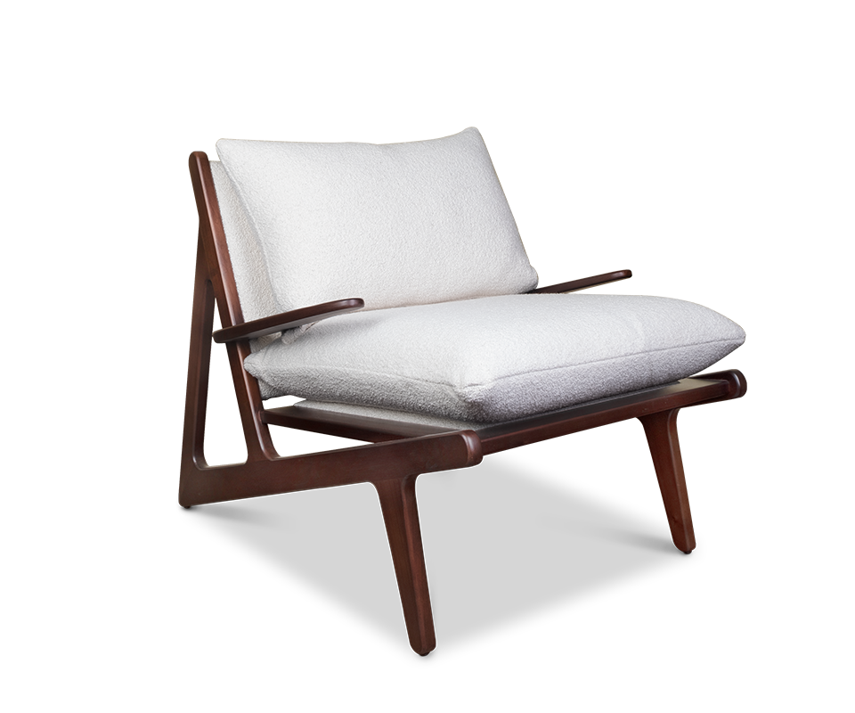 Moore Armchair upholstered in Bouclé