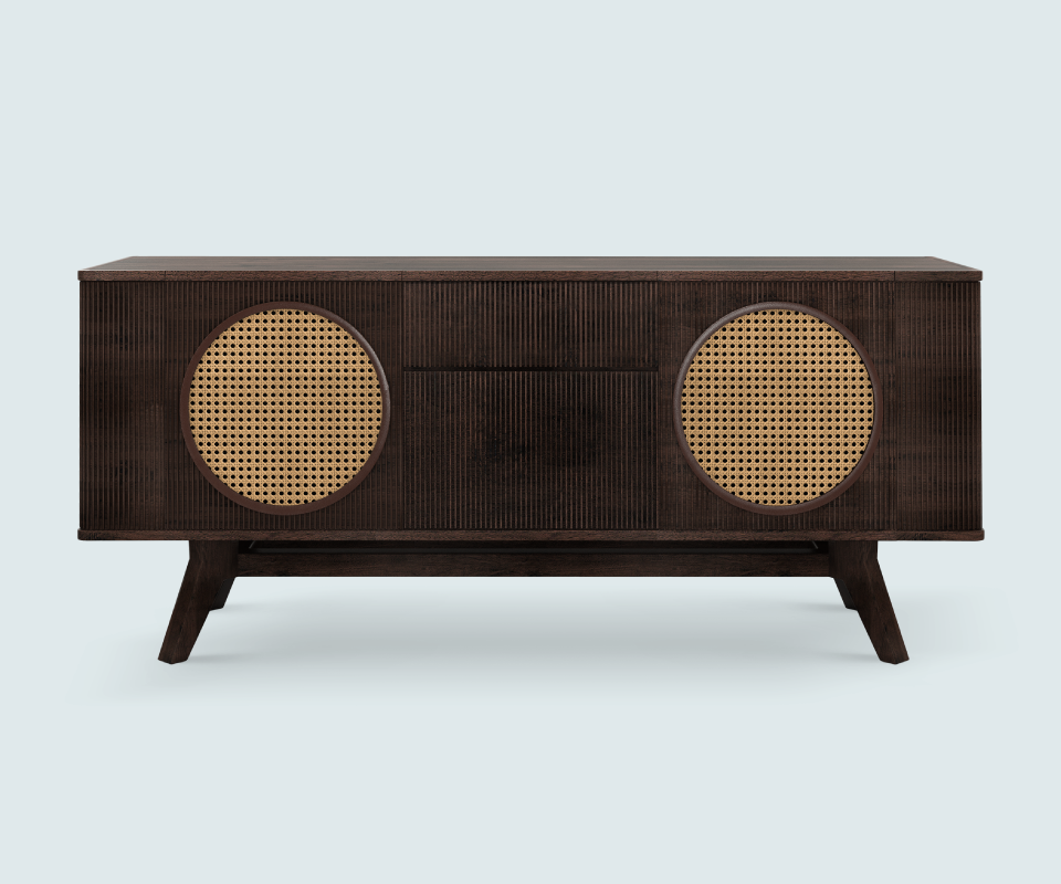 Morrison Walnut sideboard with Rattan details