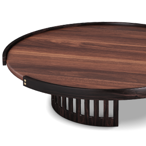 Richard Center Table in smoked walnut wood and oak