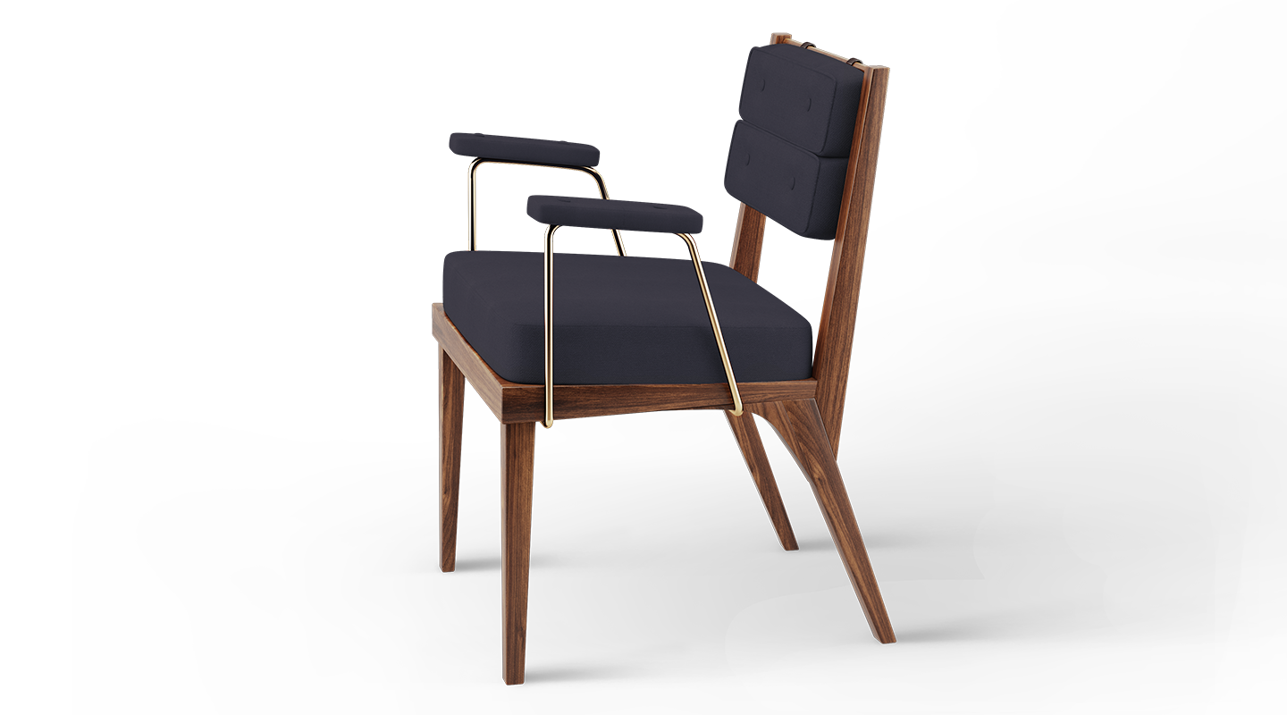 Robinson dining chair in black linen
