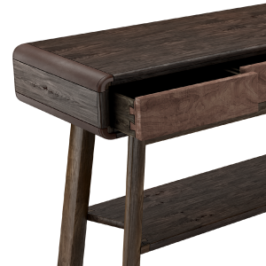 Shackleton American Walnut Console with leather details