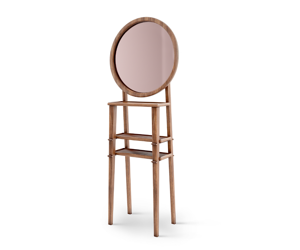 Turner Standing Mirror in walnut wood, genuine leather and polished brass