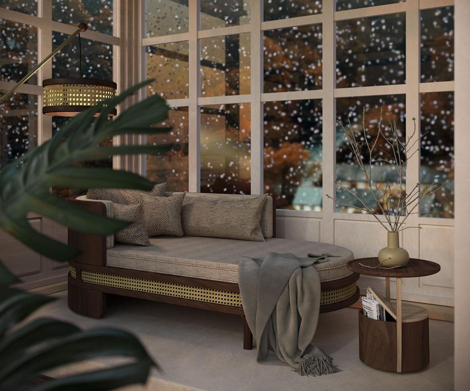 Winter Garden - Burton Side Table handcrafted in walnut wood and oak