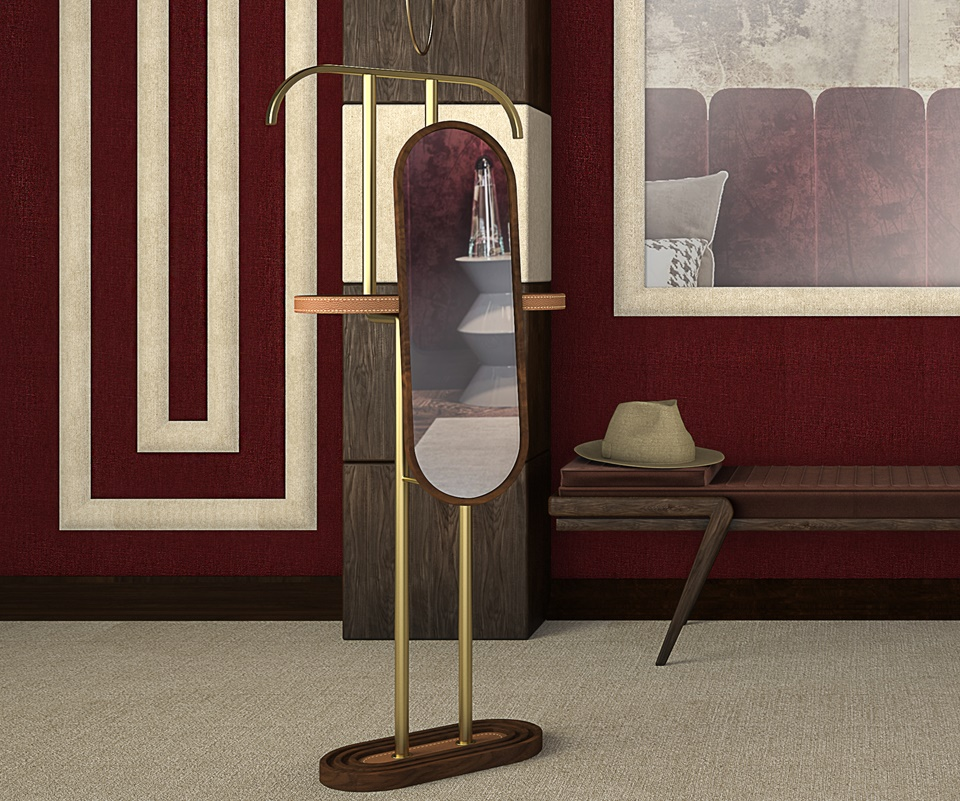 Barlow Coat Stand in walnut wood with genuine leather and brass