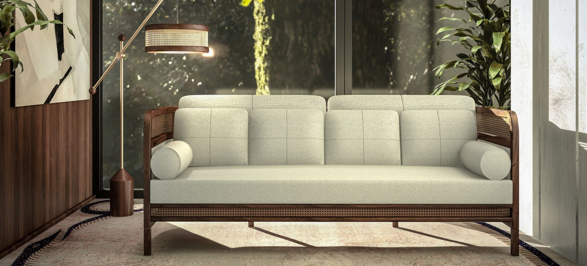 Crockford Sofa with Hamilton Floor Lamp and Whittle Suspension Lamp