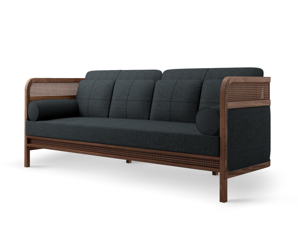 Crockford Sofa in walnut wood, ratan and black linen