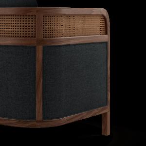 Crockford Sofa in walnut wood, ratan and black linen