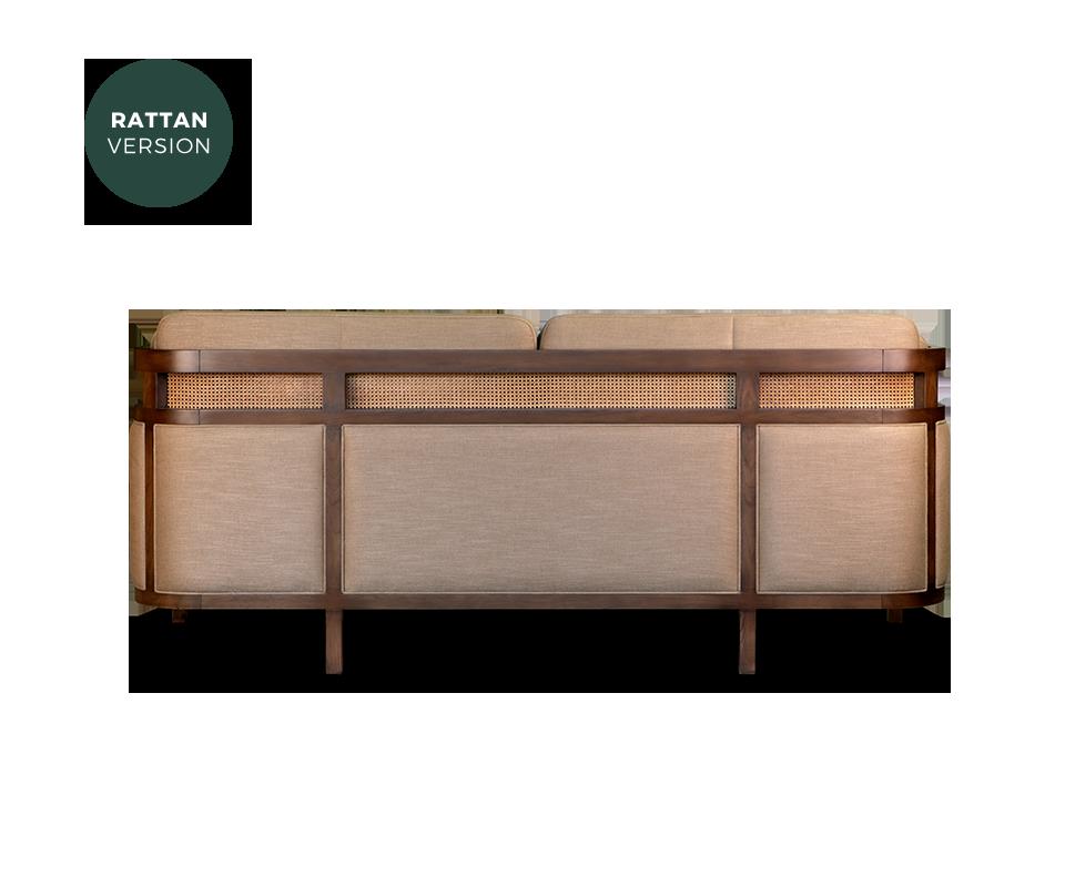 Crockford Sofa in walnut wood, ratan and linen