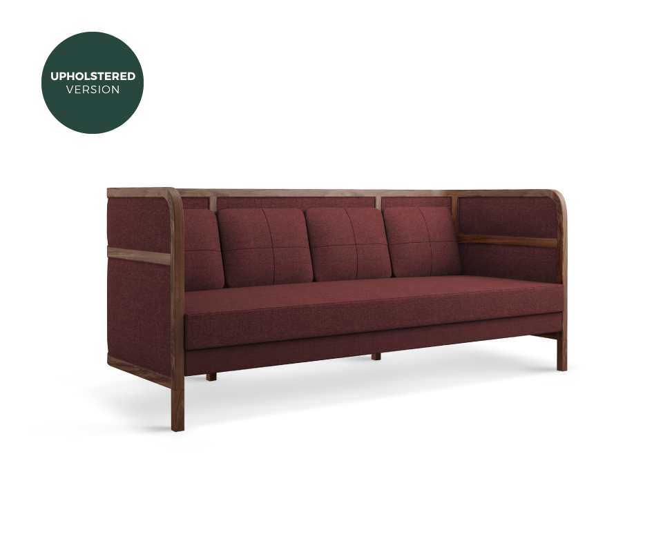 Crockford Sofa in walnut wood, ratan and red linen