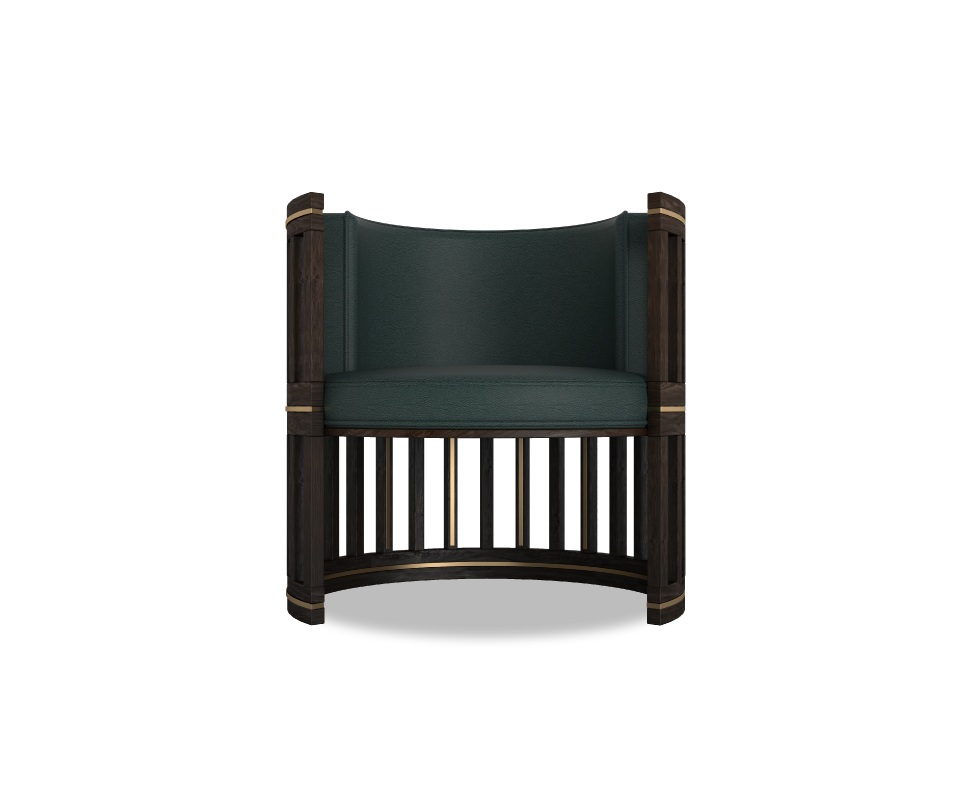 Forbes Armchair in smoked walnut wood upholstered in green genuine leather