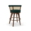 George Bar Chair handcrafted in walnut wood, ratan and green forest linen