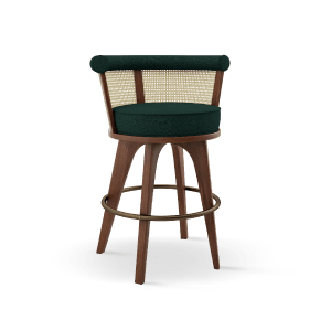 George Bar Chair handcrafted in walnut wood, ratan and green linen