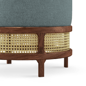 George Stool handcrafted in walnut wood, ratan and blue linen