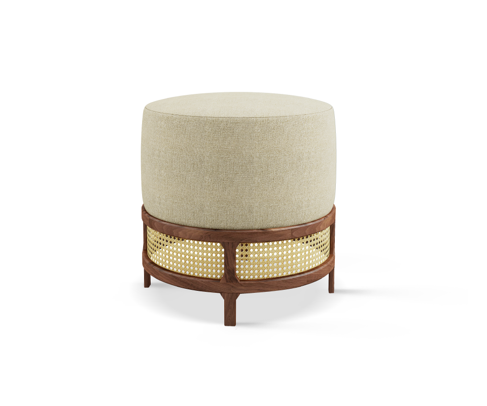 George Stool handcrafted in walnut wood, ratan and white linen