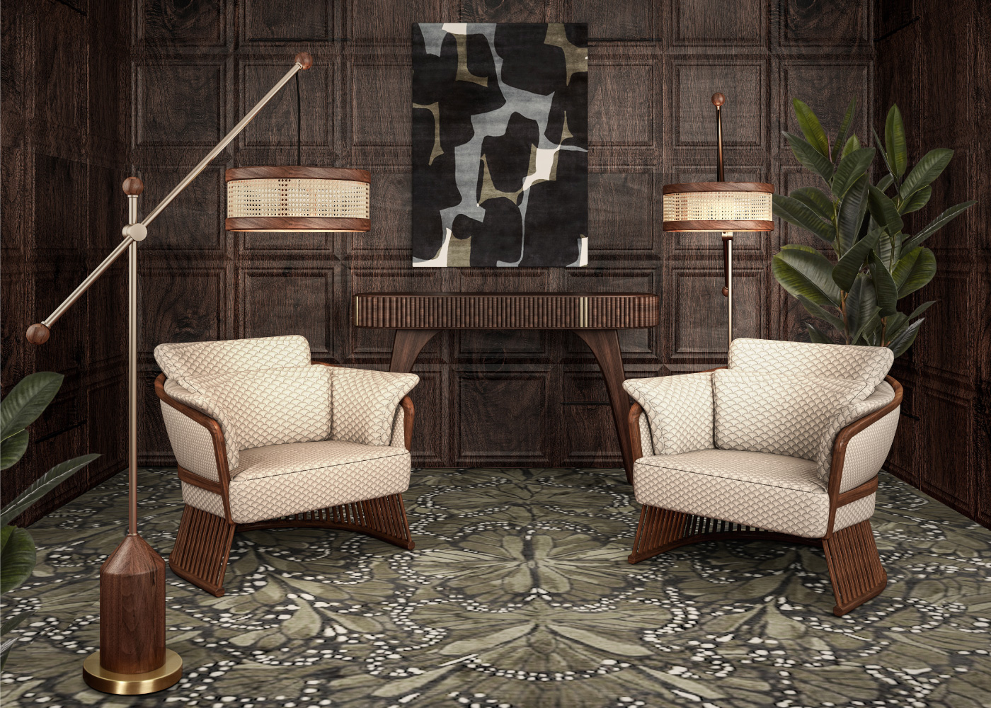 Hamilton Floor Lamp with rattan