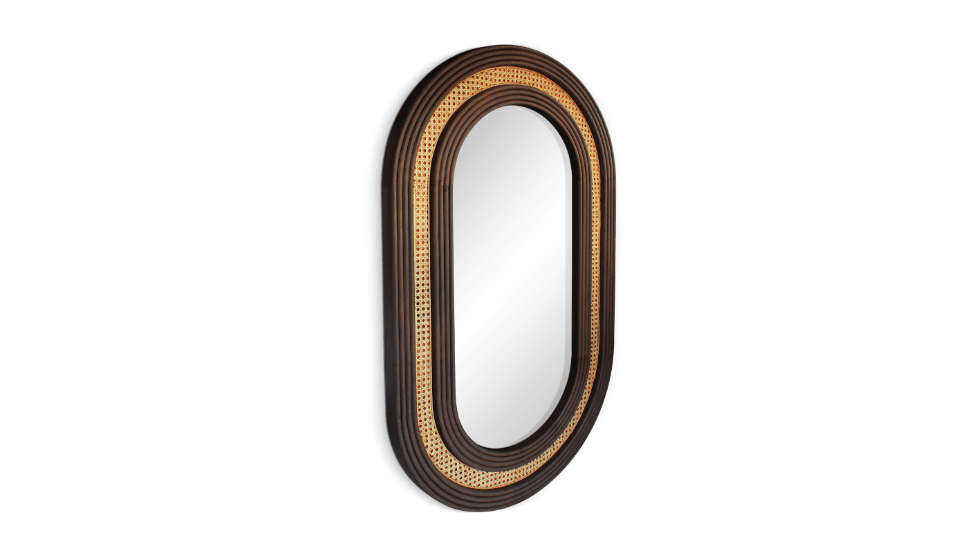 Hudson Wall Mirror with rattan