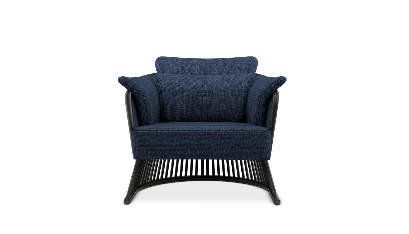 Johnson Armchair in classic blue linen