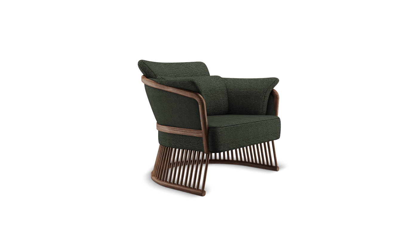 Johnson Armchair in green forest linen