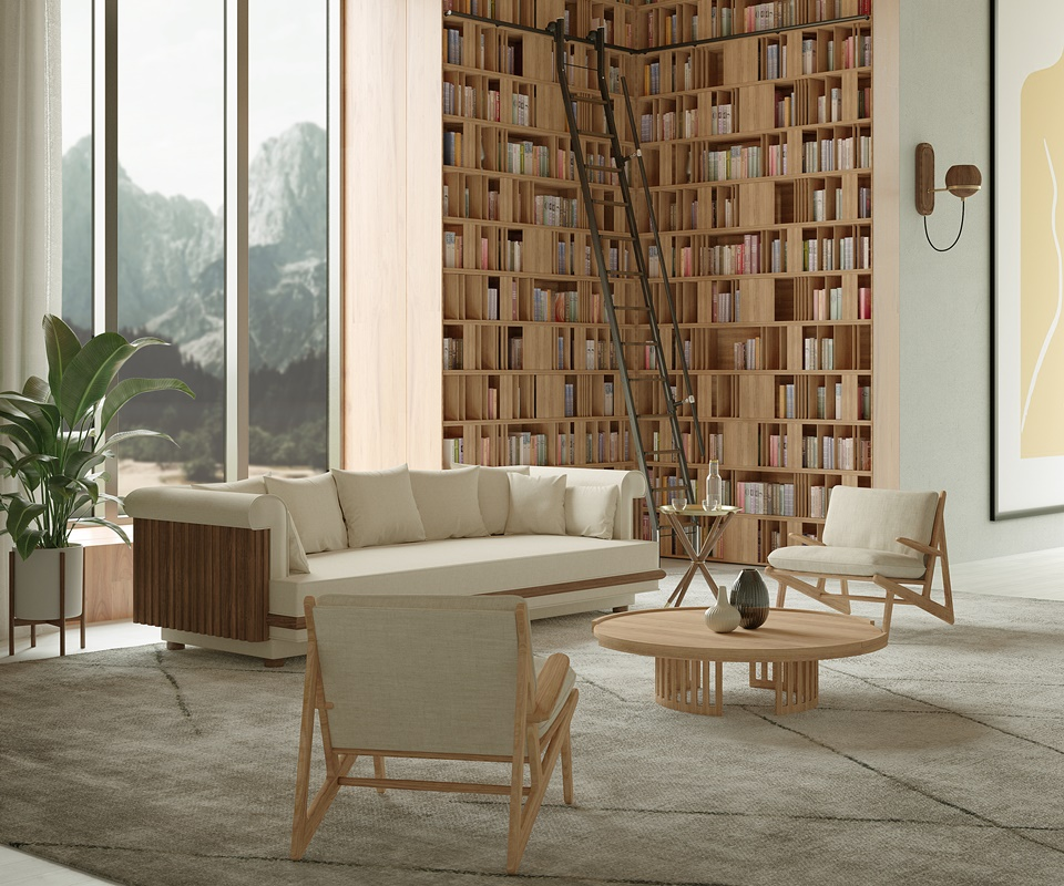 Conway Sofa and Richard Center Table - Oak Living Room