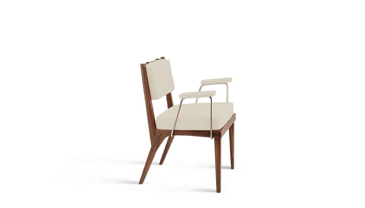 Robinson dining chair in white linen