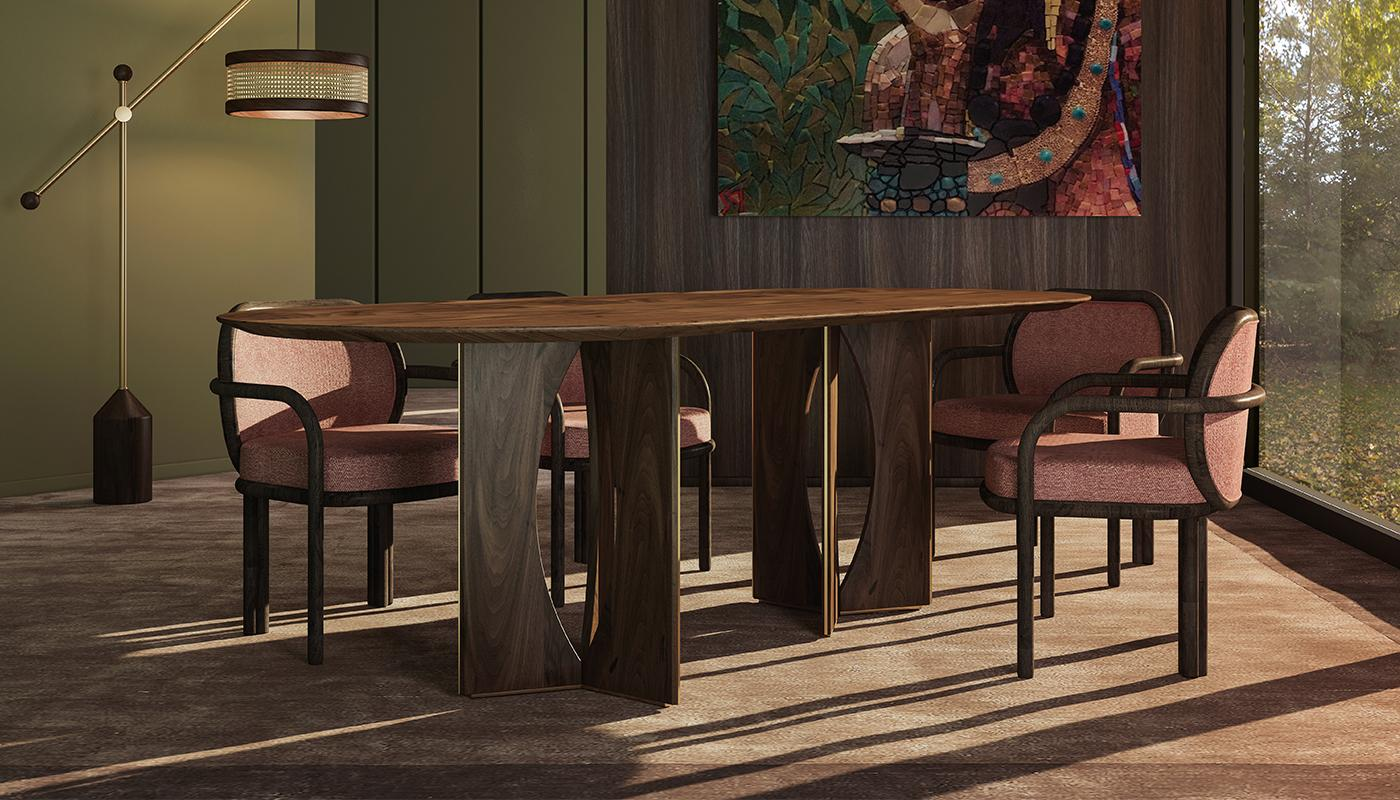 Taylor Dining Table with Hamilton Floor Lamp, James Dining Chair and Whittle Suspension Lamp