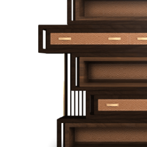 Wells Bookcase in walnut and leather