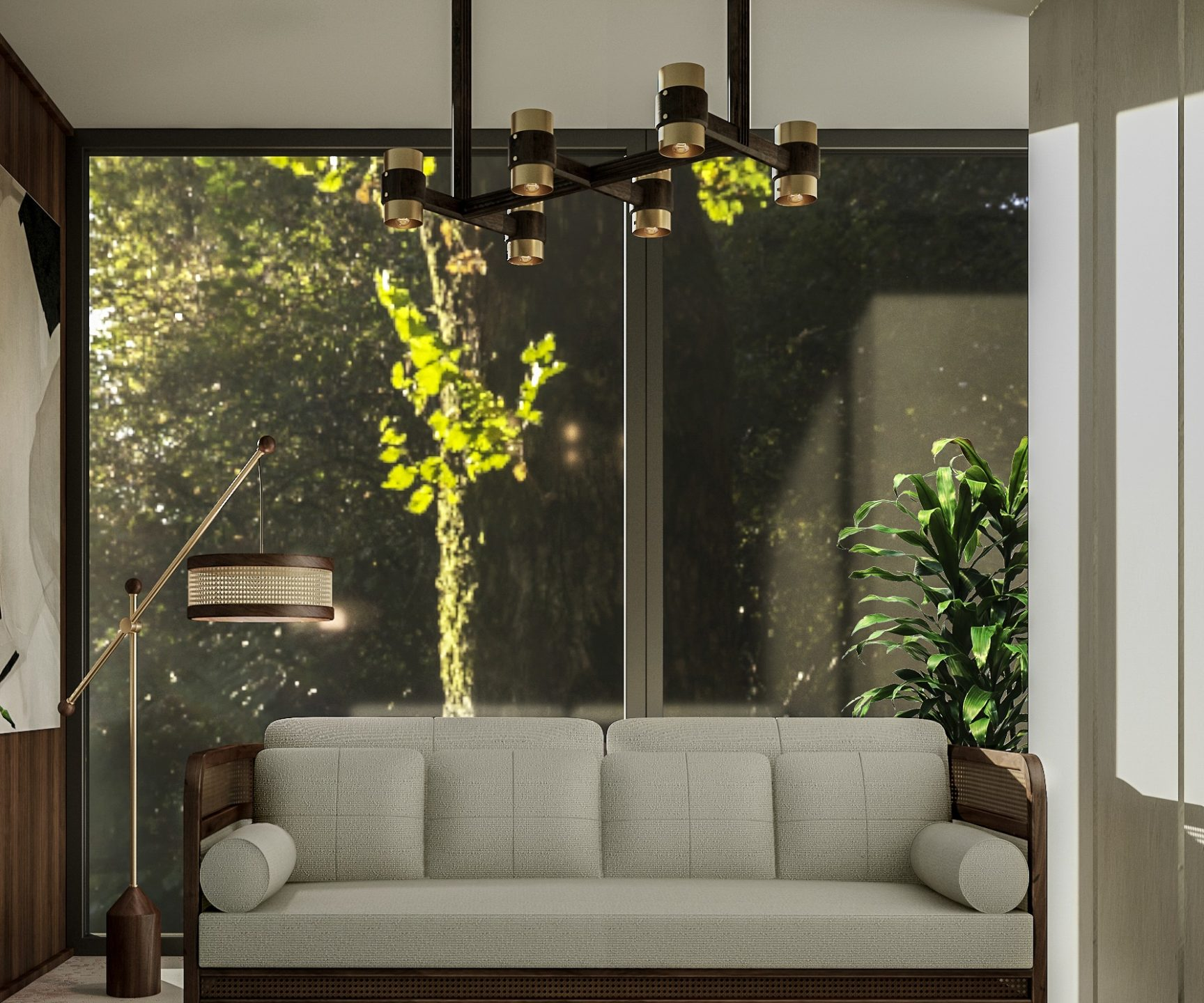 Whittle Suspension Lamp with Crockford Sofa