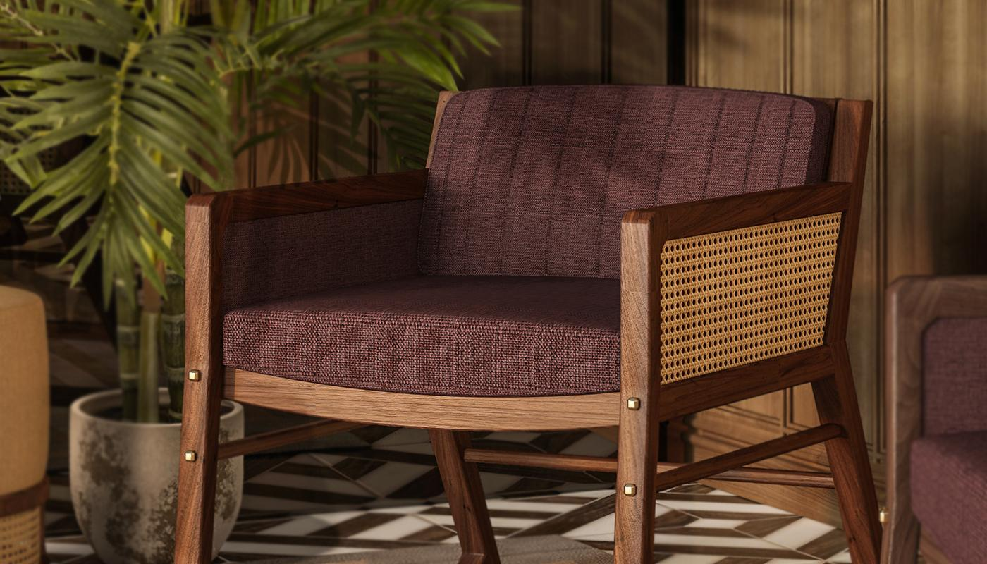 William Armchair with rattan and brown linen