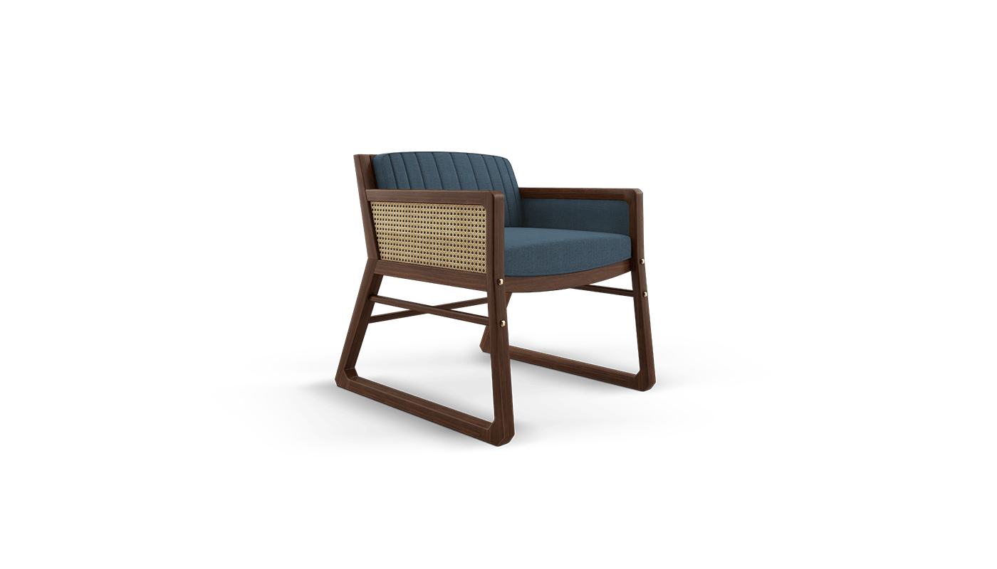 William Armchair with rattan and classic blue linen