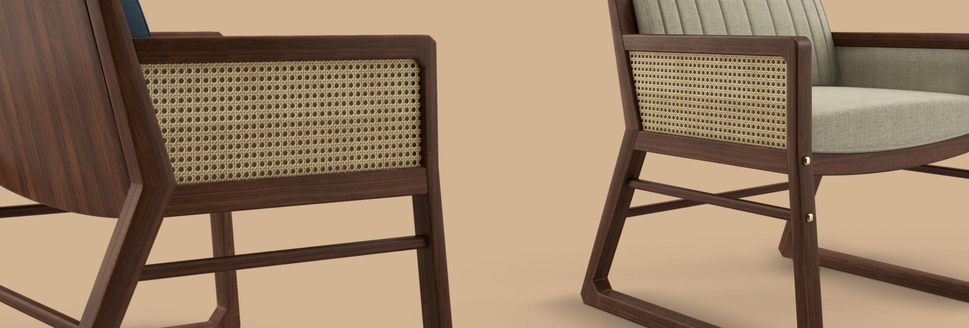 William Armchair with rattan